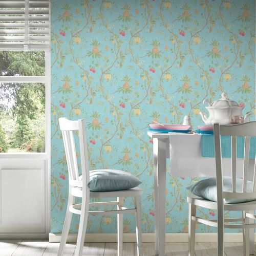 Non-Woven Wallpaper Tree Baroque blue green 36719-5 online kaufen