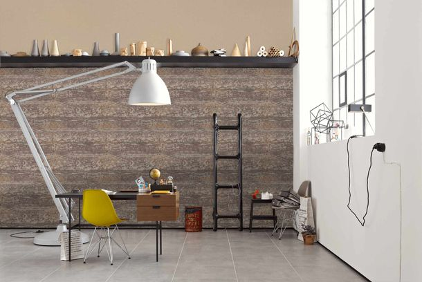 Non-Woven Wallpaper Stripes Used brown 36774-4 online kaufen