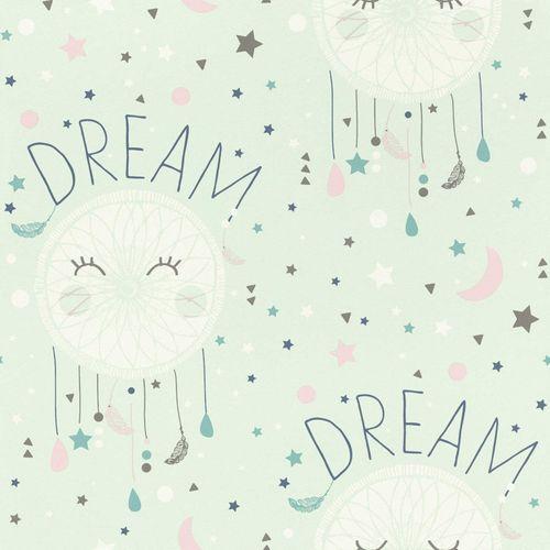 Kindertapete Rasch Traumfänger Schrift Mond mint 248760 online kaufen
