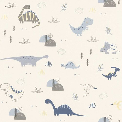 Kids Wallpaper Rasch dinosaurs plants white blue 249347