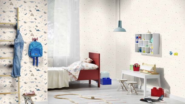 Kids Wallpaper Rasch dinosaurs plants white blue 249347 online kaufen