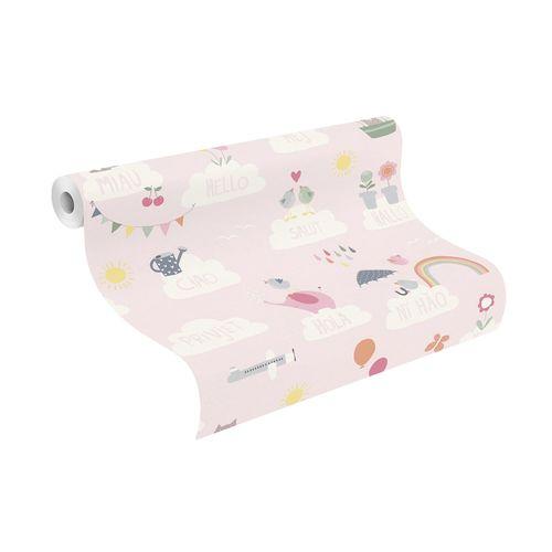 Kids Wallpaper Rasch animals clouds rose white 249453 online kaufen