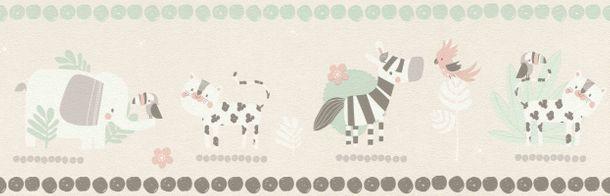 Kinderborte Rasch Savanne Tiere cremebeige weiß 249866 online kaufen