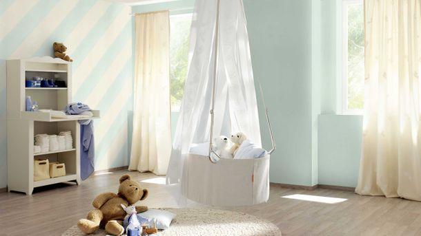 Kids Wallpaper Rasch stripes diagonal blue cream 531602 online kaufen