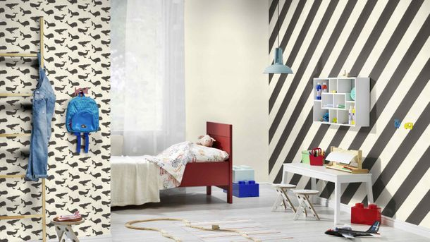 Kids Wallpaper Rasch stripes diagonal anthracite 531626 online kaufen