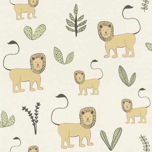 Kids Wallpaper Rasch lion plants cream brown 531701