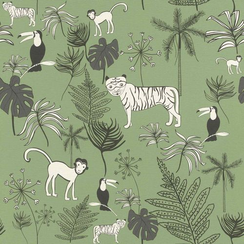 Kids Wallpaper Rasch jungle animals dark green 531817