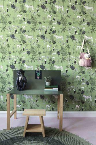 Kindertapete Rasch Dschungeltiere dunkelgrün 531817 online kaufen