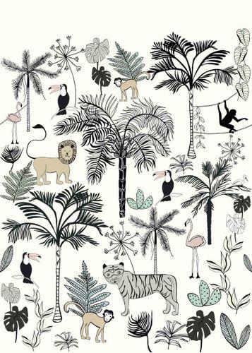 Fototapete Kinder Rasch Tiere Dschungel weiß blau 842173 online kaufen