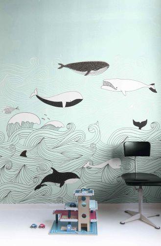 Mural Wallpaper Kids Rasch whales water turquoise 842500 online kaufen