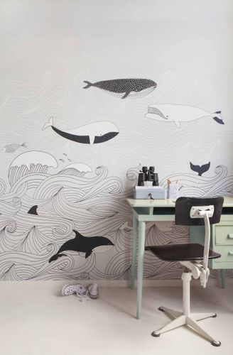 Mural Wallpaper Kids Rasch whales water grey black 842531 online kaufen
