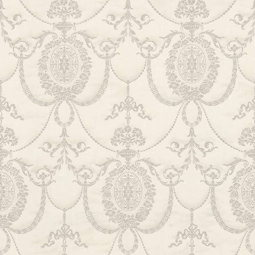 Satin Wallpaper Baroque white brown Gloss Rasch 532104