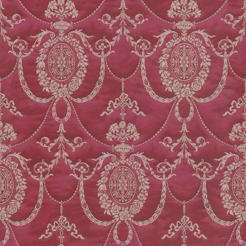 Satin Wallpaper Baroque red gold Gloss Rasch 532135