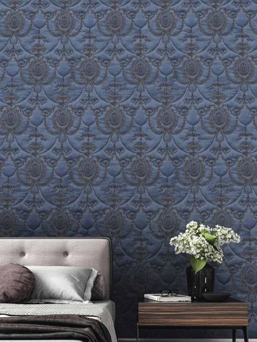 Satin Wallpaper Baroque blue gold Gloss Rasch 532159 online kaufen