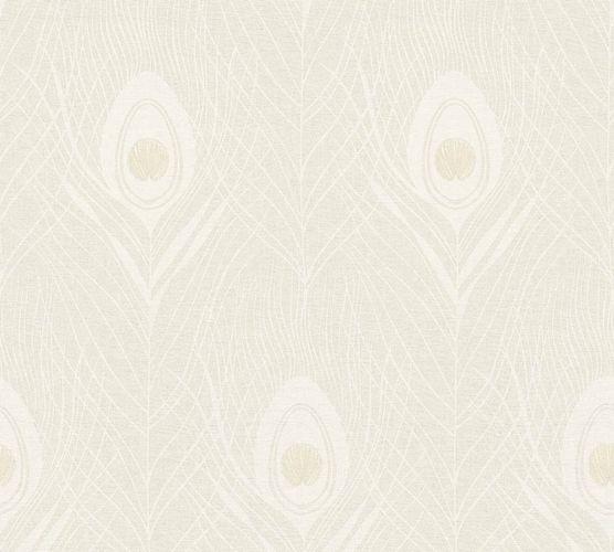 Tapete Vlies Pfau Feder creme grau Glanz 36971-1 online kaufen
