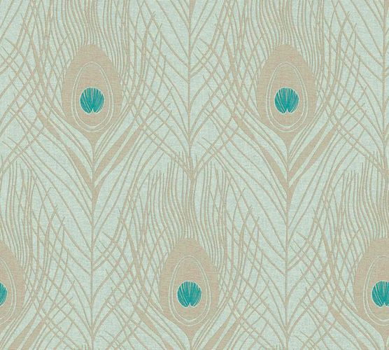 Non-Woven Wallpaper Feathers Peacock mint cream Gloss 36971-3