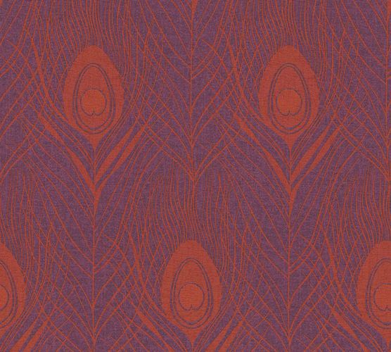 Tapete Vlies Pfau Feder lila orange Metallic 36971-5