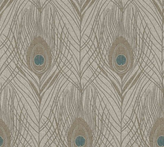 Non-Woven Wallpaper Feathers Peacock light brown turquoise 36971-6