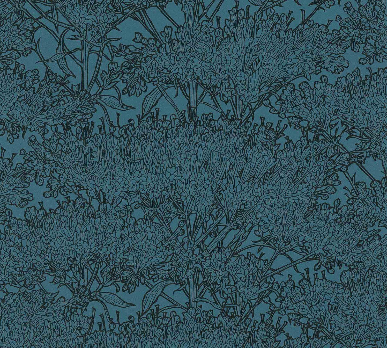 Tapete vlies baum floral dunkelblau schwarz 36972 6 for Tapete baum