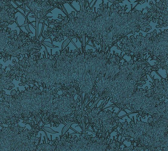 Non-Woven Wallpaper Floral Tree dark blue black 36972-6 online kaufen