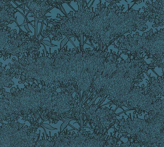 Tapete Vlies Baum Floral dunkelblau schwarz 36972-6