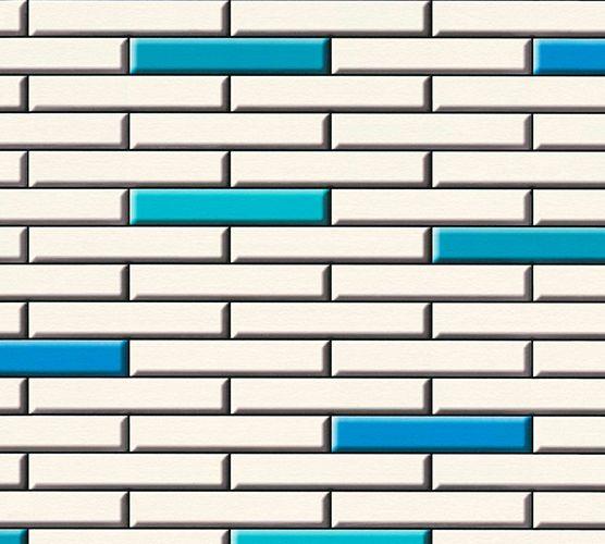 Vinyltapete Riemchensteine Klinker blau weiß 34278-2 online kaufen