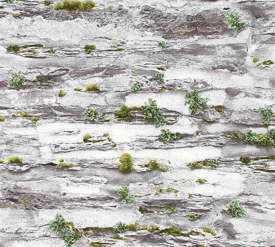 Tapete Steinmauer Moos hellgrau grün 36492-2 online kaufen