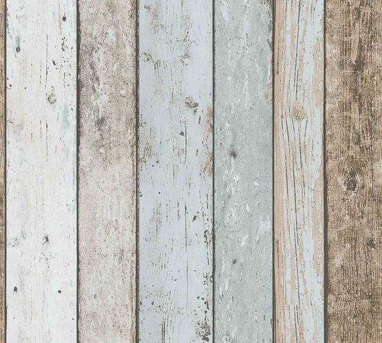 Wallpaper Wood Panel Vintage cream blue brown 8999-27