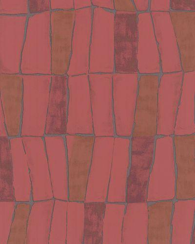 Vliestapete Kacheln rot braun silber Metallic 31223