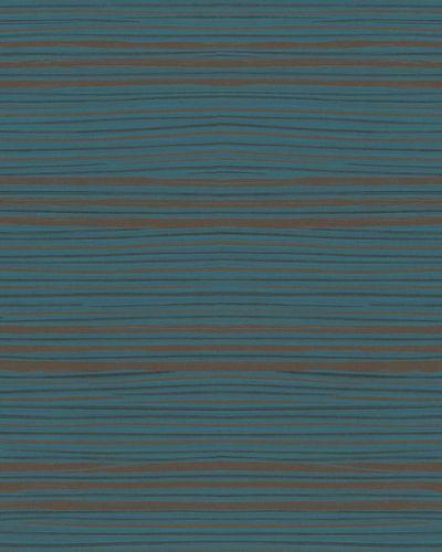 Vliestapete Quergestreift blau bronze Metallic 31214