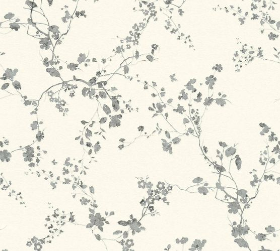 Non-Woven Wallpaper Floral Vine cream silver Gloss 36896-2