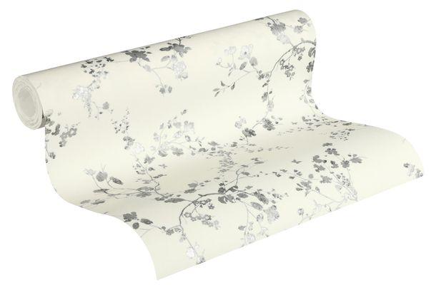 Non-Woven Wallpaper Floral Vine cream silver Gloss 36896-2 online kaufen