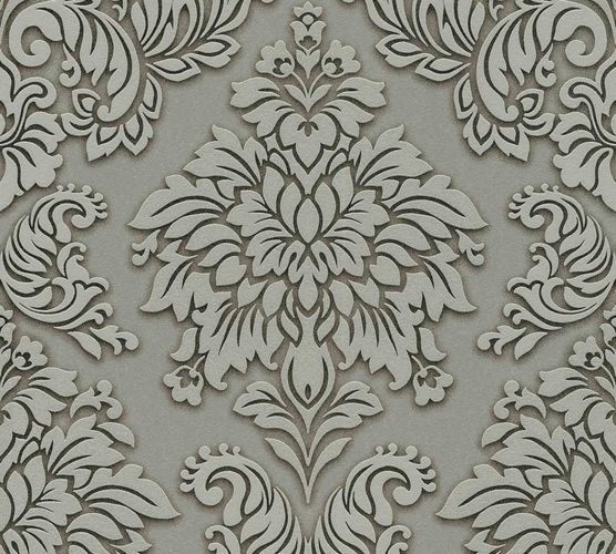 Non-Woven Wallpaper Baroque green grey Glitter 36898-1