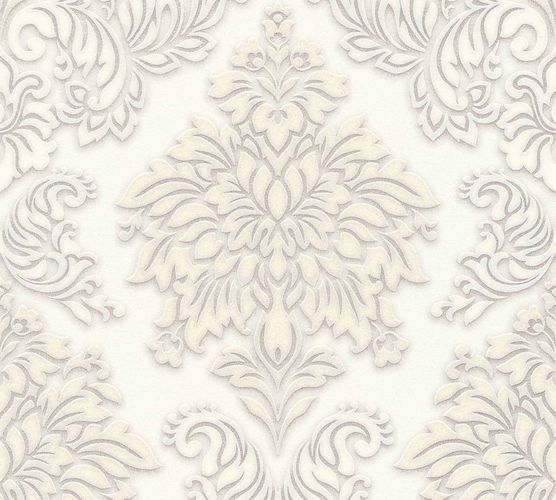Non-Woven Wallpaper Baroque cream grey Glitter 36898-2