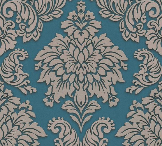 Non-Woven Wallpaper Baroque blue beige Glitter 36898-5