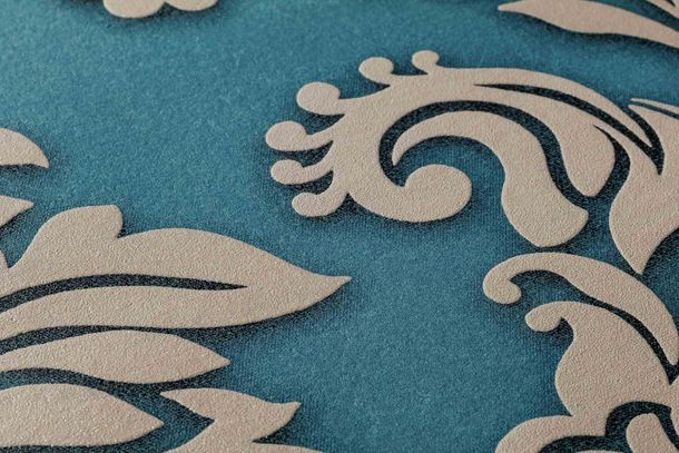 Non-Woven Wallpaper Baroque blue beige Glitter 36898-5 online kaufen