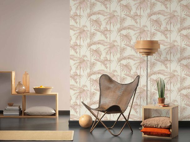 Non-Woven Wallpaper Bamboo Leaves Design creampink 36919-3 online kaufen