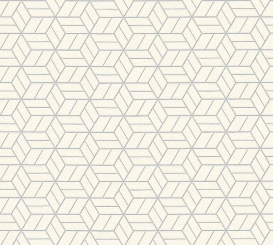 Non-Woven Wallpaper Graphic Cubes cream silver Glitter 36920-3