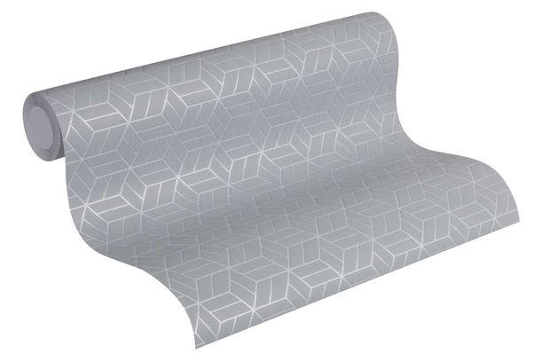 Non-Woven Wallpaper Graphic Cubes blue grey silver Glitter 36920-4 online kaufen