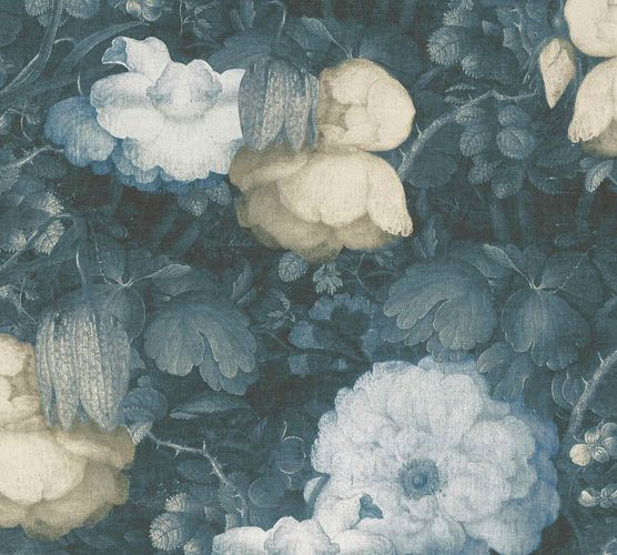 Non-Woven Wallpaper Flowers Vintage blue yellow grey 36921-3