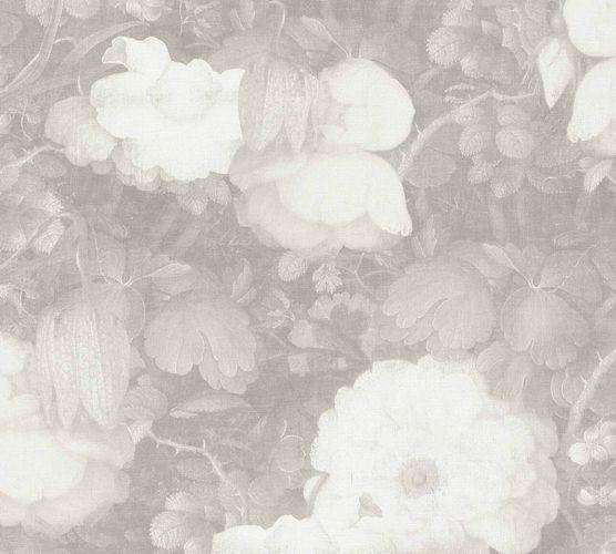 Non-Woven Wallpaper Flowers Vintage grey white 36921-4