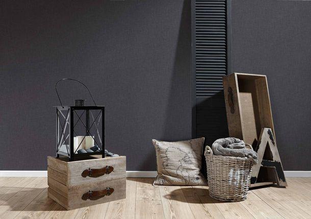 Vliestapete Uni Textil-Optik schwarz 36922-2 online kaufen