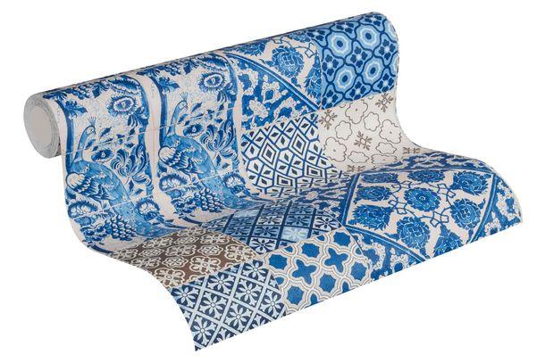 Non-Woven Wallpaper Tiles blue white 36923-1 online kaufen