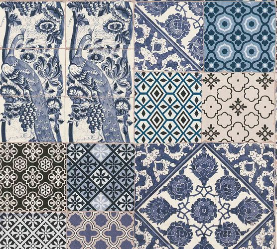 Non-Woven Wallpaper Tiles blue white 36923-2