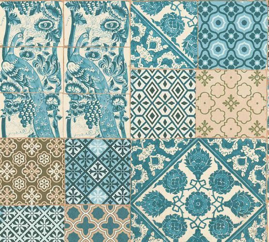 Non-Woven Wallpaper Tiles turquoise white 36923-3