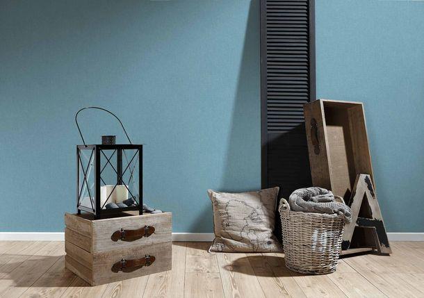 Non-Woven Wallpaper Textile Look Uni blue white 36925-8 online kaufen