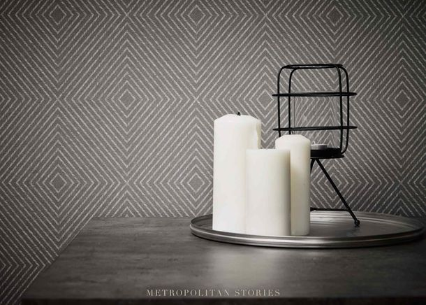 Non-Woven Wallpaper Graphic Rhombuses anthracite silver Gloss 36926-1 online kaufen