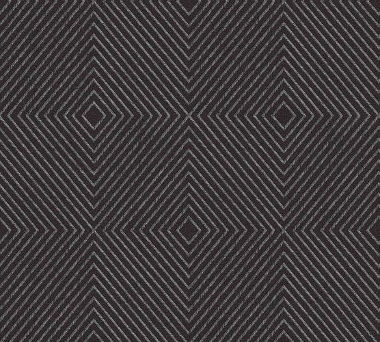 Non-Woven Wallpaper Graphic Rhombuses black grey Gloss 36926-5