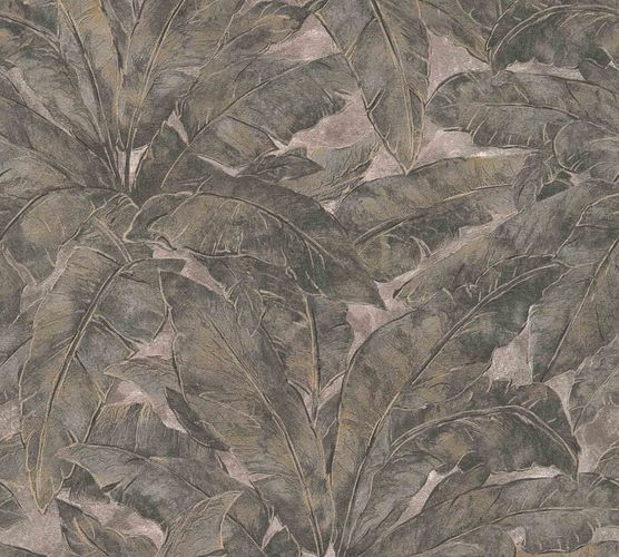Non-Woven Wallpaper Leaves Fern anthracite beige Gloss 36927-1