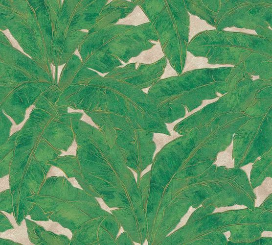 Non-Woven Wallpaper Leaves Fern green gold Gloss 36927-3